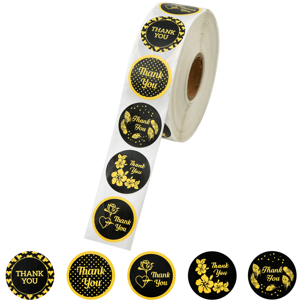 Thank You Sticker Roll - Black & Gold