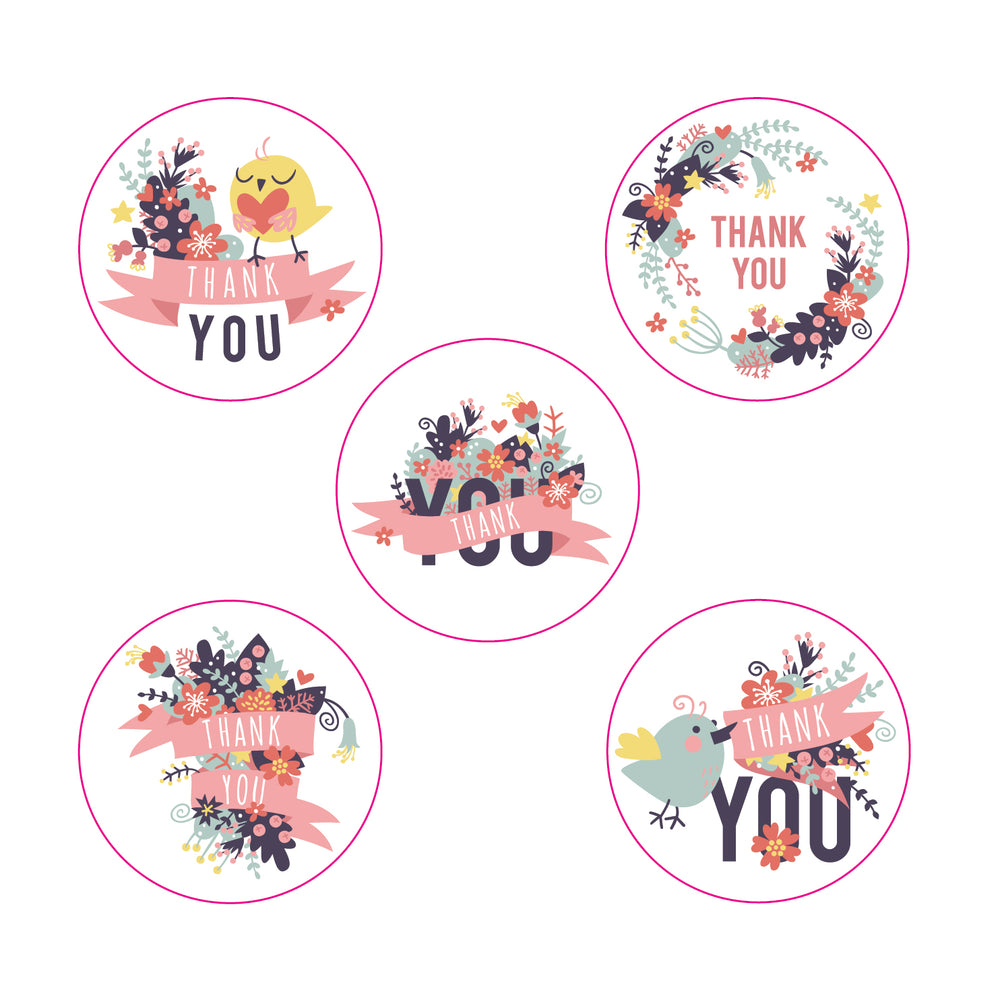 Thank you sticker roll - Floral