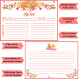 Pink Floral Recipe Cards - 50 Pack