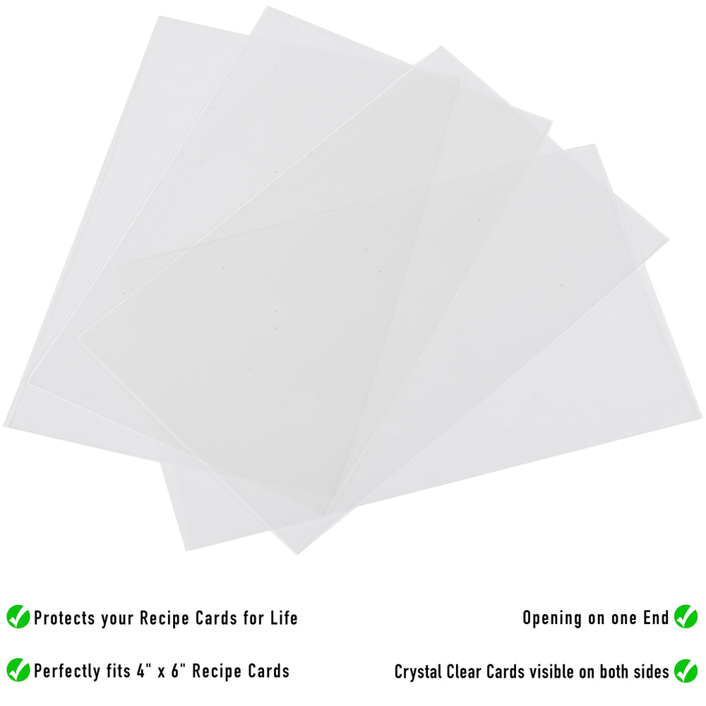 Recipe Card Protectors - 100 Pack Clear Recipe Card Sleeves