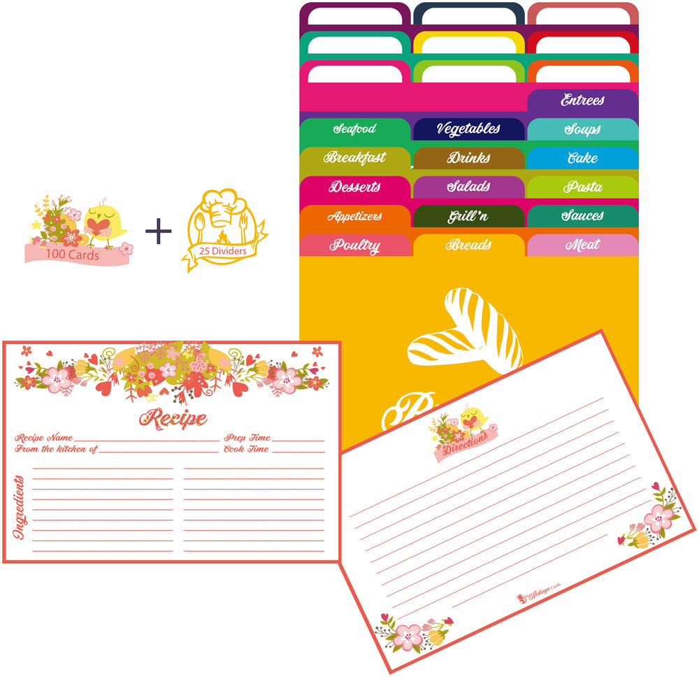 Pink Floral Recipe Cards and Dividers Set