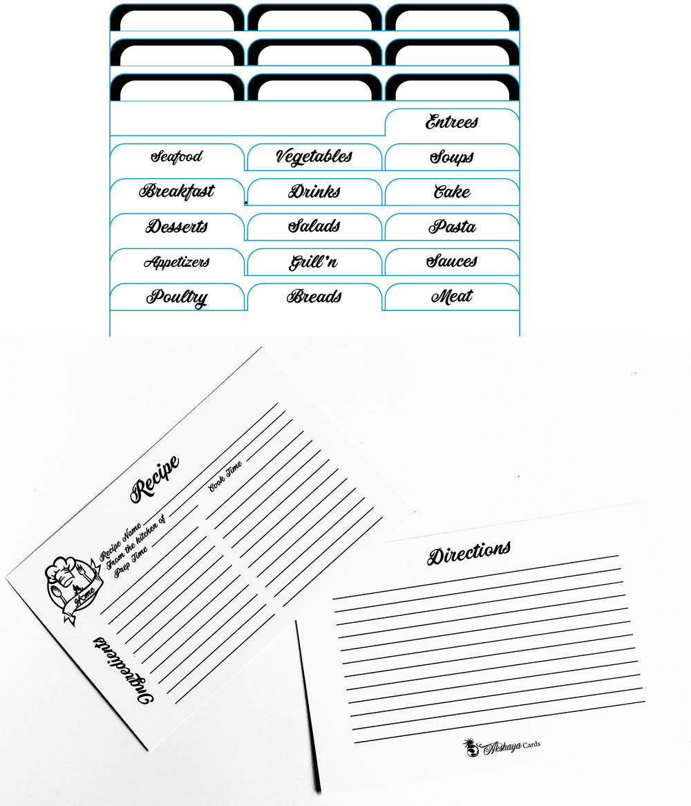 White - Minimalist - Recipe Cards Set