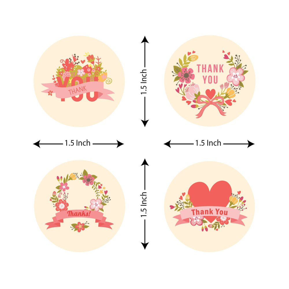 Thank you stickers roll - Pink Floral