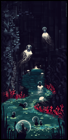 Bubble Bunny Underworld - Signed Giclée Print