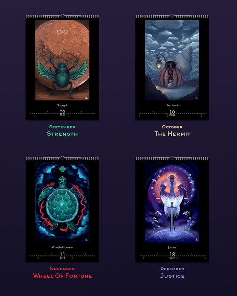 Major Arcana Illustrations Calendar 2018