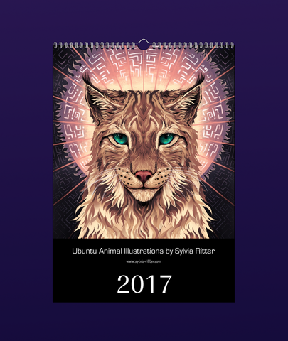 Ubuntu Animal Illustrations Calendar 2017