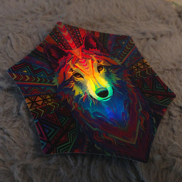 Wakeful Wolf - Holographic Sticker