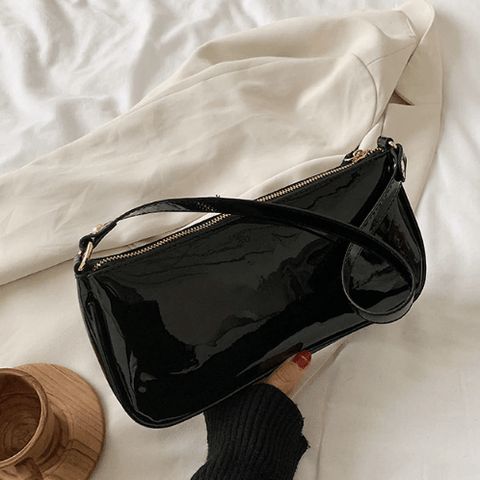 Black Retro Baguette Bag