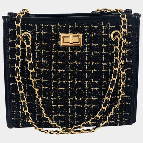 Dina Black Tweed Shoulder Bag