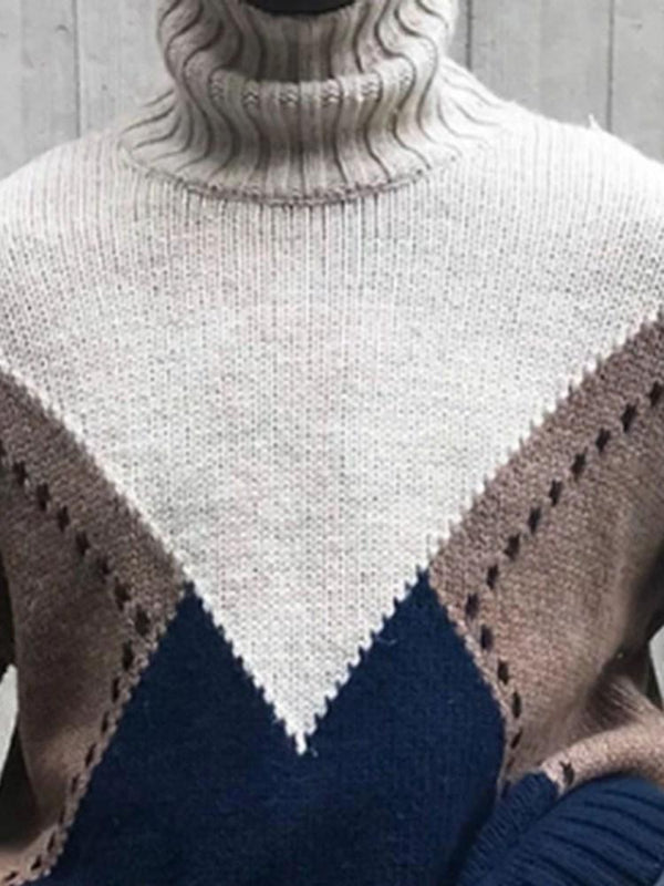 Standard Turtleneck Color Block Loose Winter Sweater