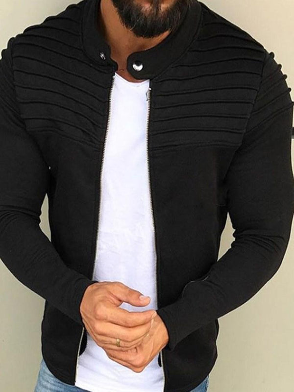Plain Cardigan Pleated Slim Stand Collar Hoodies