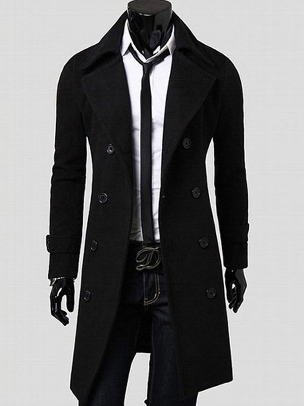 Plain Mid-Length Notched Lapel Slim Fall Coat