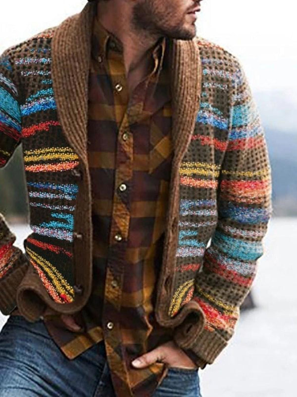 Color Block Button Standard Loose Single-Breasted Sweater