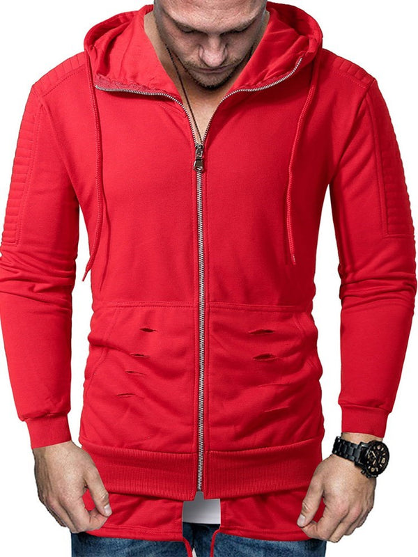 Zipper Pullover Plain Zipper Casual Hoodies