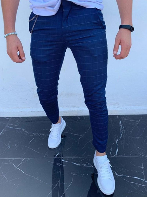 Zipper Plaid Casual Spring Casual Pants