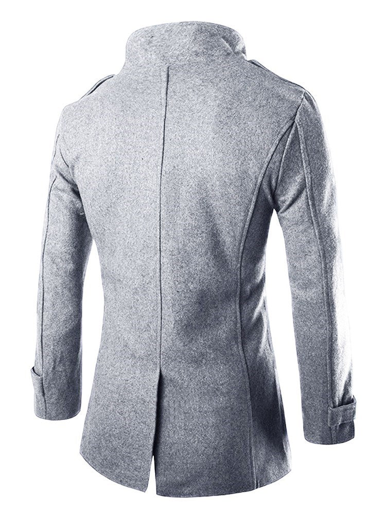 Plain Mid-Length Notched Lapel Fall Double-Breasted Coat