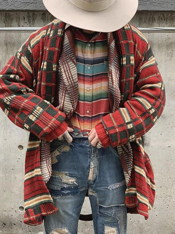 Color Block Mid-Length Winter Loose Sweater