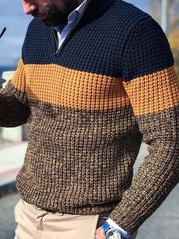 Standard Color Block Fall Loose Sweater