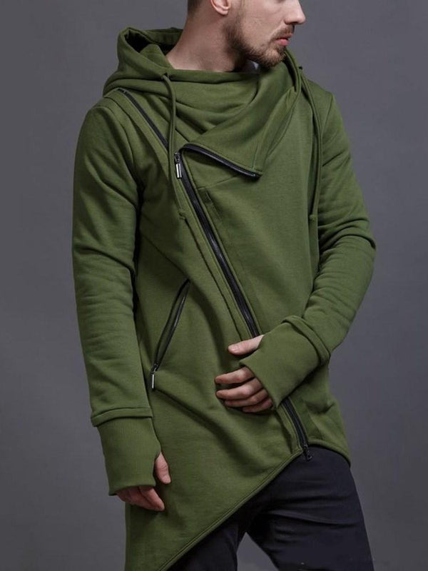Zipper Cardigan Plain Casual Hooded Hoodies