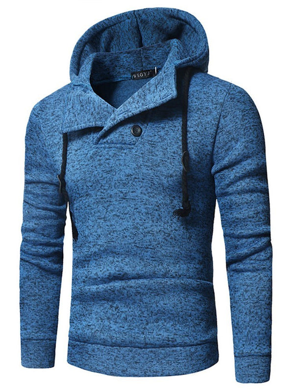 Fleece Plain Button Pullover Casual Hoodies
