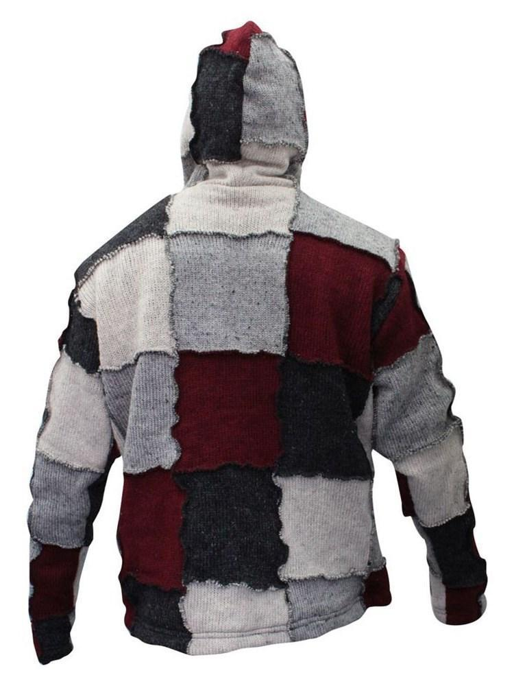 Color Block Hooded Standard Casual Slim Sweater