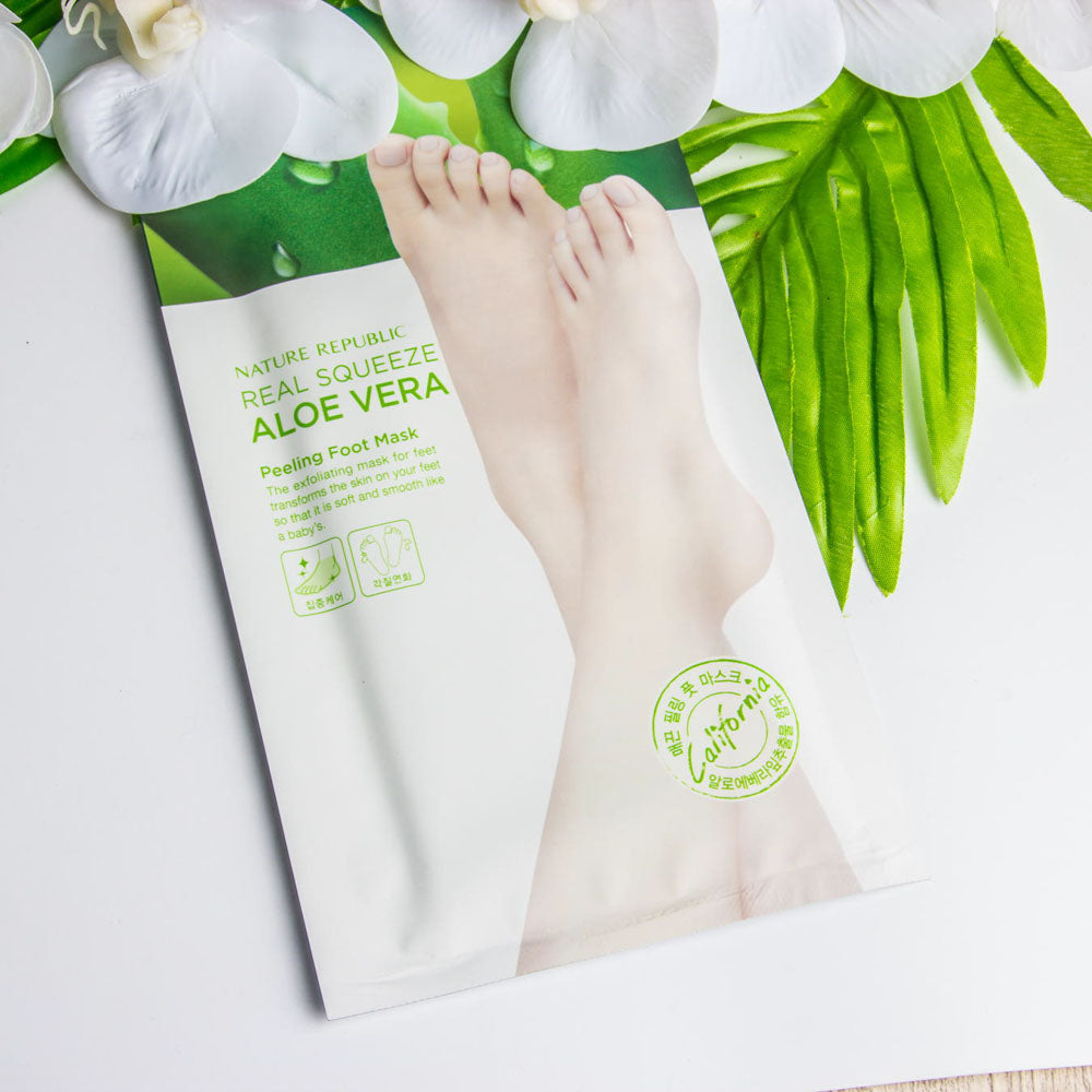 自然乐园 芦荟祛角质脚膜 1对装 Nature Republic Real Squeeze Aloe Vera Peeling Foot Mask 1-pair