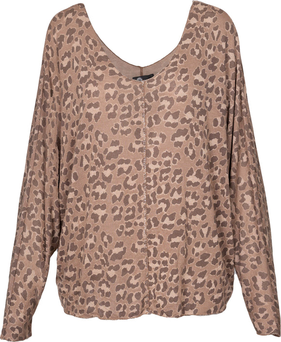 M Made in Italy - Leopard Print Drapey Pullover Sweater