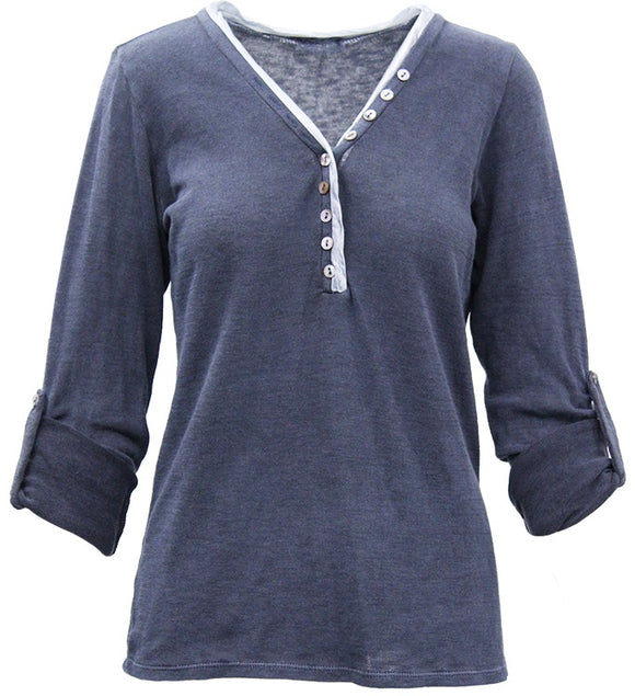 Ema&Carla - Button-Accent V-Neck Top