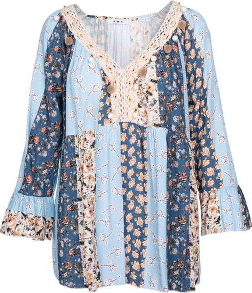 M Made in Italy - Women's Boho Chic Floral Blouse