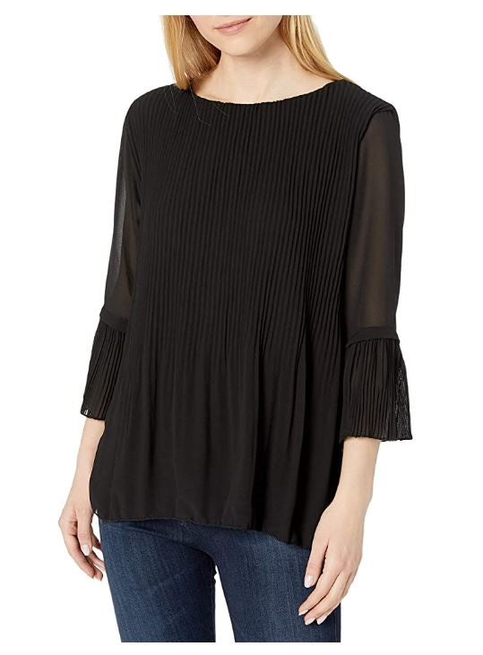 M Made in Italy - Womens Long Sleeve Pleated Blouse