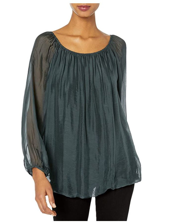 M Made in Italy Puff-Sleeve Silk-Blend Top