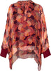 M Made in Italy - Tie Neck Geo Floral Print Long Illusion Sleeve Top