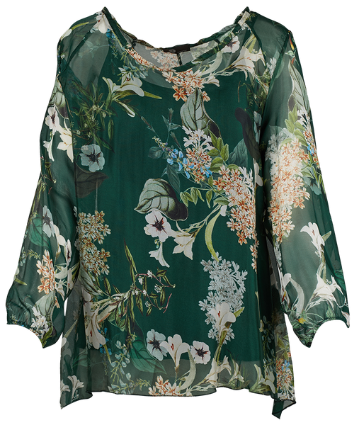 Sheer-Overlay Silk-Bland Top