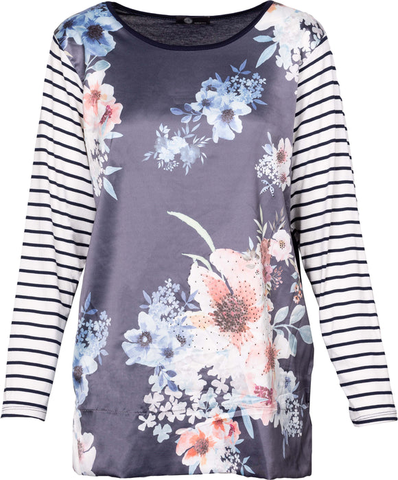 M Made in Italy - Stripe & Floral Scoop Neck Top