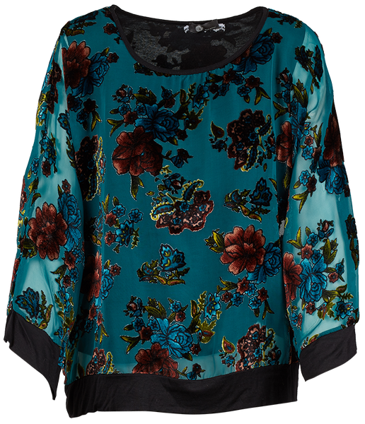 M Made in Italy - Floral Velvet Trim Top