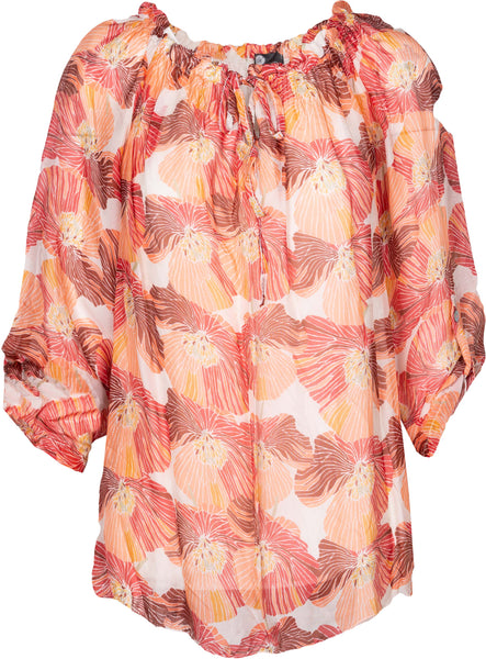M Made in Italy - Tie Neck Geo Floral Blouse