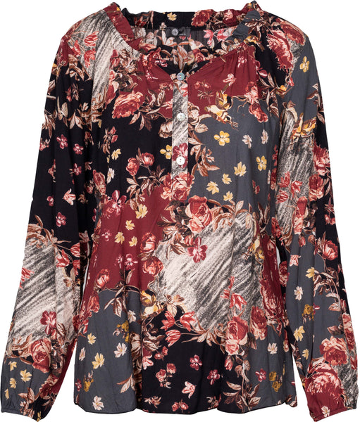M Made in Italy - Ruffle Neck Floral Blouse