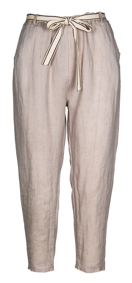 M Made in Italy - Women's Tapered Linen Pants with Tie Belt
