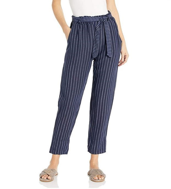 M Made in Italy - Womens Linen Striped Pants