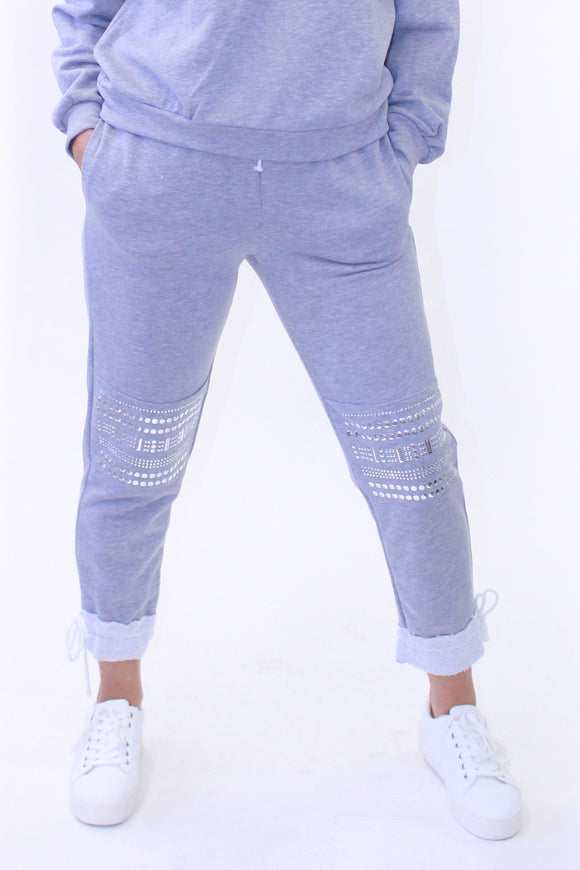Ema&Carla - Joggers Pants with Silver Stud Embellishments