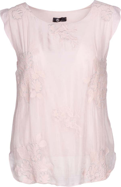 M Made in Italy - Women's Sleeveless Embroidered Blouse