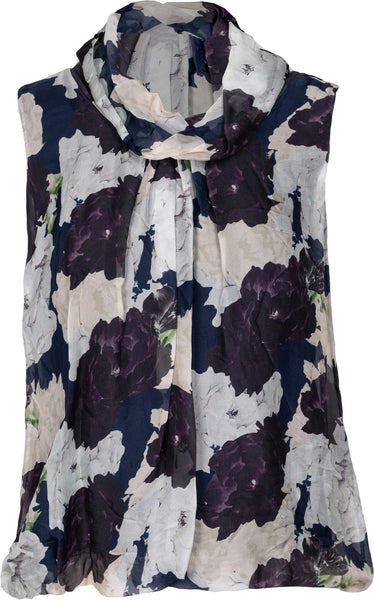 M Made in Italy - Sleeveless Floral Cowl Neck Blouse