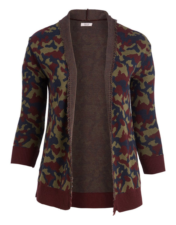 Camouflage Army Print Knitted Cardigan