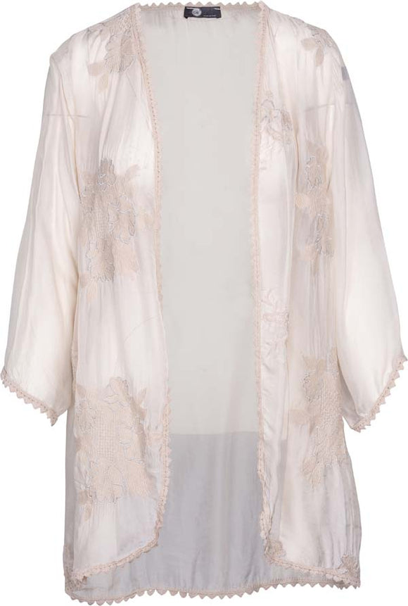 Women's Embroidered Floral Silky Cardigan