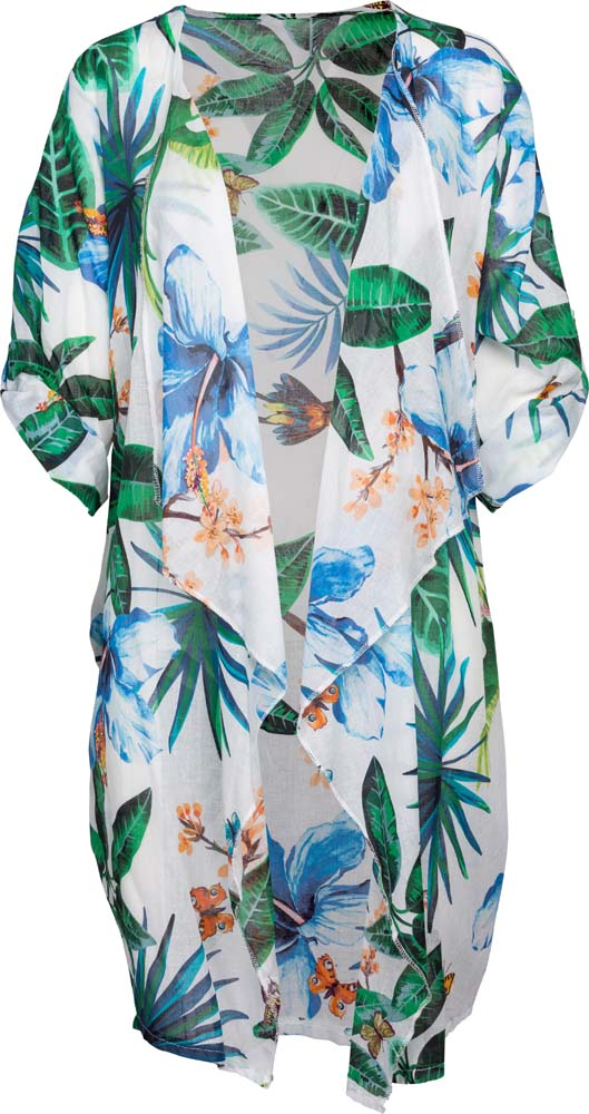 M Made in Italy - Tropical Print Open Cardigan Plus Size