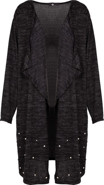 M Made in Italy - Beaded Drape Open Cardigan