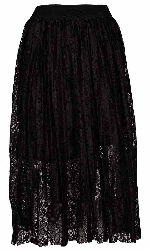 M made in Italy Lace Midi Skirt withElastic Waistband