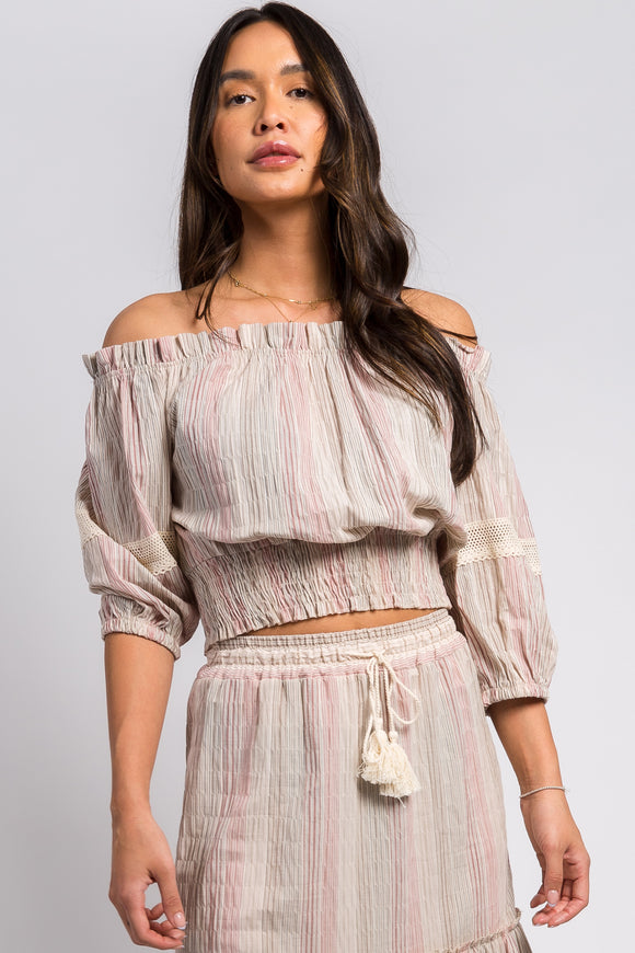 Ema&Carla -  Off-Shoulder Cropped Peasant Top