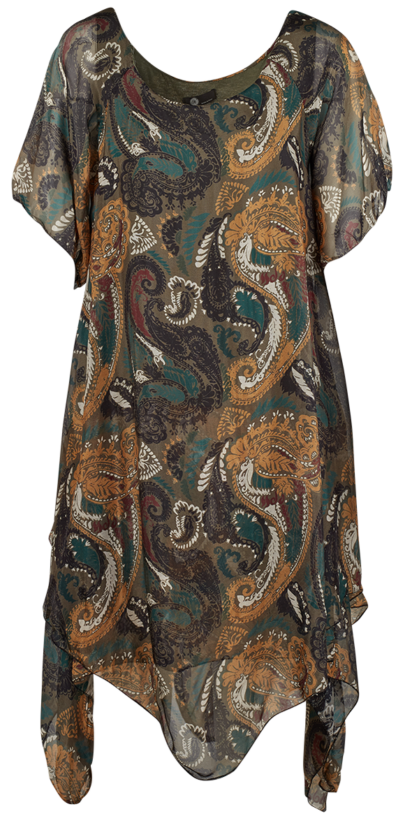 M Made in Italy - Short Sleeve Paisley Dress