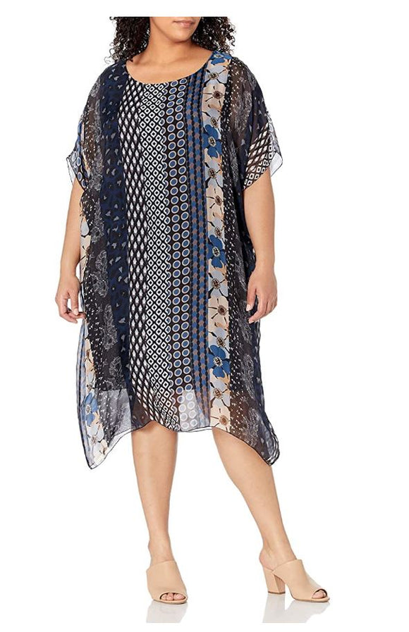 M Made in Italy - Mix Print Shift Dress Plus Size